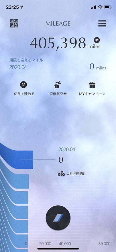 ANAマイレージクラブのアプリ