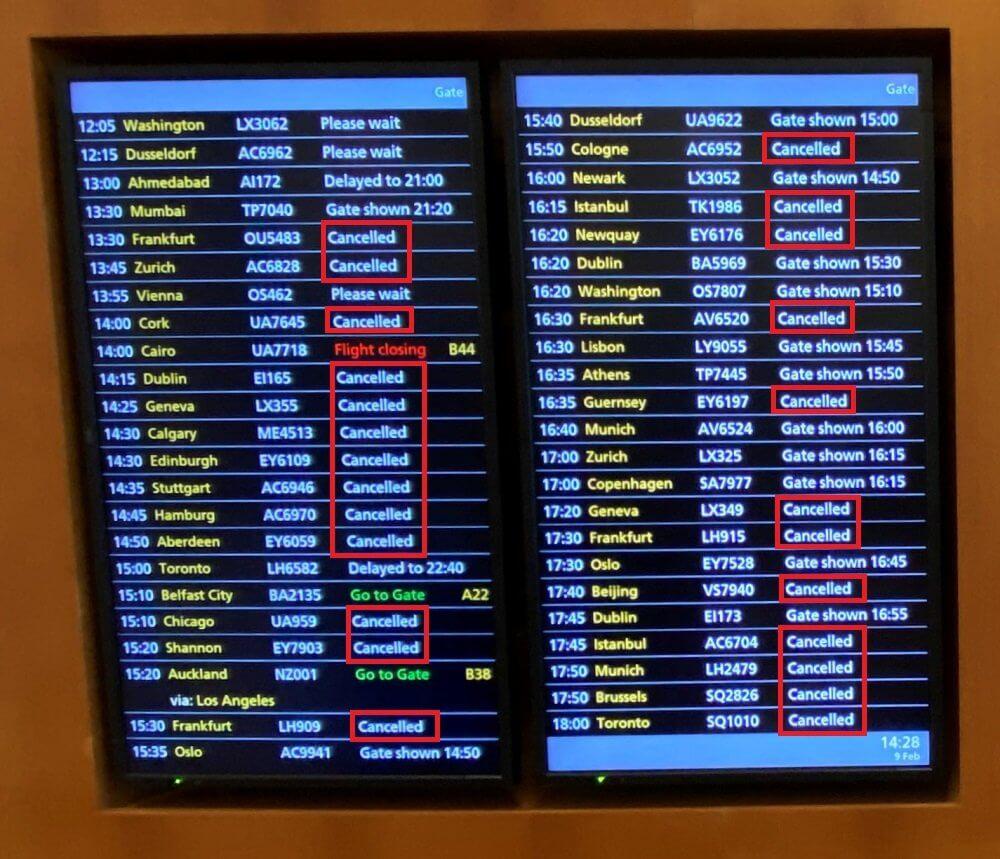 暴風下でのヒースロー空港の運行情報