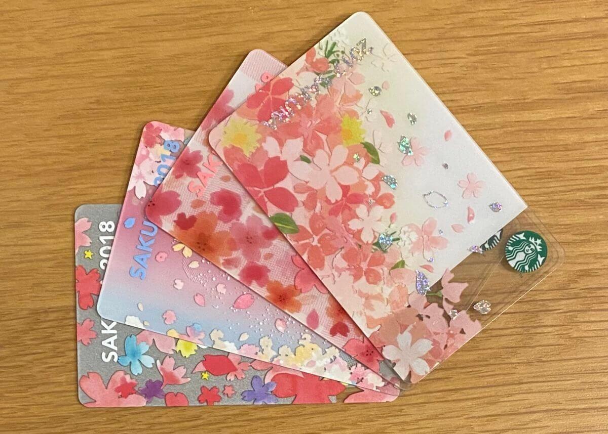 桜柄のスターバックスカード(4枚)