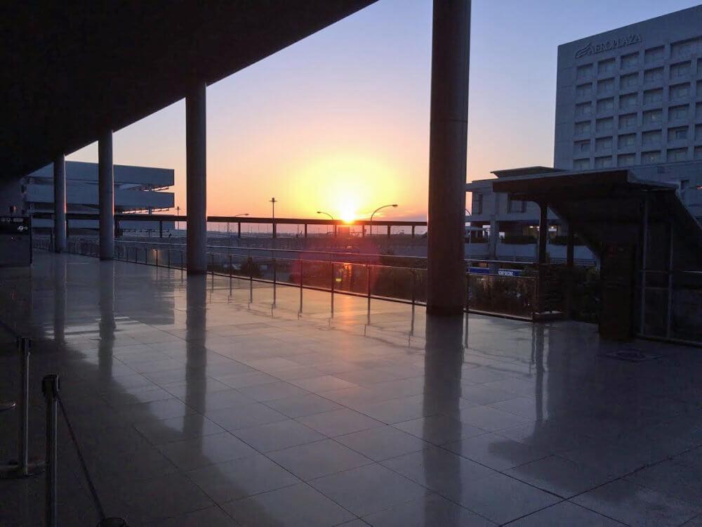 関西国際空港での夕焼け